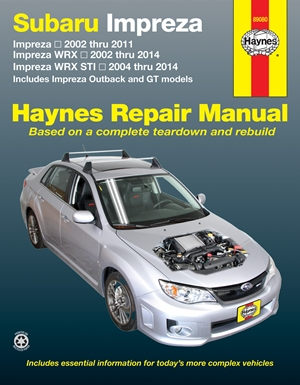Subaru Impreza 2002 thru 2011, Impreza WRX 2002 thru 2014, Impreza WRX STI 2004 thru 2014