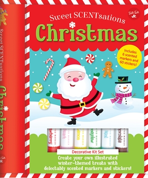 Christmas Create your own illustrated winter-themed treats with delectably scented markers and stickers! - Includes 6 scented markers and 60 stickers!