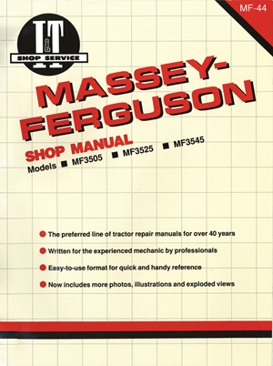 Massey Ferguson Shop Manual Models  MF3505 MF3525 & MF3545