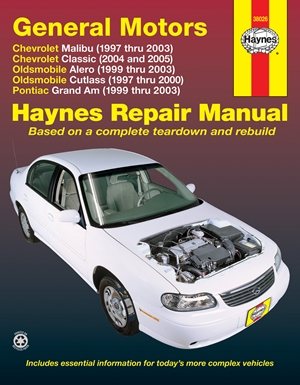 General Motors Chevrolet Malibu (1997 thru 2003) Chevrolet Classic (2004 and 2005) Oldsmobile Alero (1999 thru 2003) Oldsmobile Cutlass (1997-2000) Pontiac Grand Am (1999 thru 2003)