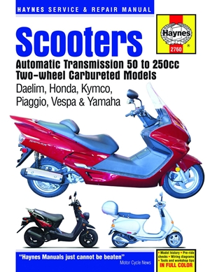 Scooters Automatic Transmission 50 to 250cc Two-Wheel Carbureted Models