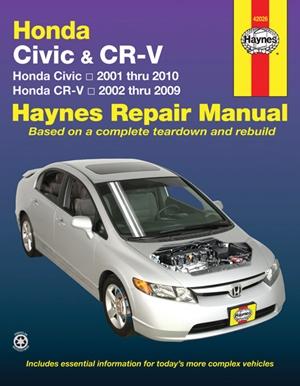 Honda Civic 2001 Thru 2010 & CR-V 2002 Thru 2009