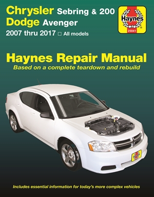 Chrysler Sebring 2007 thru 2010, Sebring Convertible 2008 thru 2010, Chrysler 200 2011 thru 2017 & Dodge Avenger 2007 thru 2014 Haynes Repair Manual