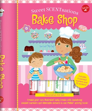 Bake Shop Create your own illustrated tasty treats with tantalizing scented markers and delectable stickers in one SWEET activity book! - Includes 6 scented markers and 75 stickers!
