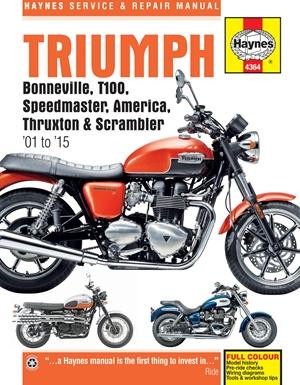 Triumph Bonneville, T100, Speedmaster, America, Thruxton & Scrambler '01 to '15