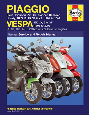 Piaggio Vespa Sfera, Typhoon, Zip, Fly, Skipper, Hexagon, Liberty, NRG, B125, X8 & X9 1991 to 2009 and Vespa ET, LX, S & GT 1996 to 2009